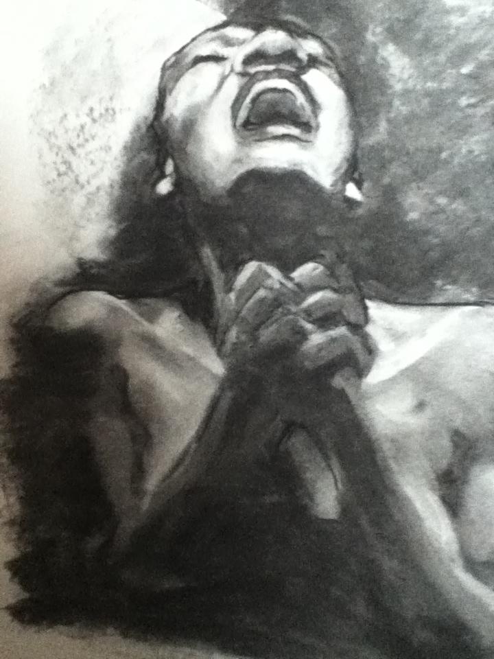 mercy charcoal on paper 18x24 VanWert 2012